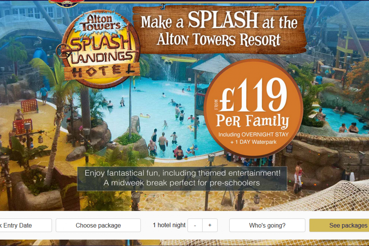 Alton Towers Splash Landings Special Offer from £119 per family